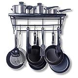 ZESPROKA Kitchen Wall Pot Pan Rack,With 10 Hooks,Black