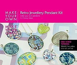 Retro Jewelry Glass Pendant Jewelry Craft Making Kit, Girls, Beginners, Teens, Adults + Jewelry Supplies + Retro Designs