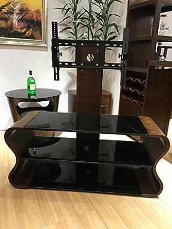 Fernsehständer aus Walnussholz mit schwarzem Glas und TV-Halterung, fur 81,3cm–165,1cm große Fernseher