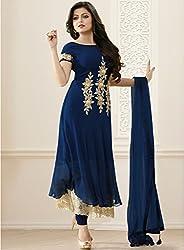 Isha Enterprise Women's Micro Navy Blue Dress Material
