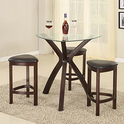 Roundhill Furniture 4-Piece Triangle Solid Wood Bar Table and Stools Set, Espresso