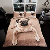 sell-ideas 3D Animal Printed Duvet Set Quilt Cover Pillow Cases- Quality Products (PUG-DOG- KING) from sell-ideas