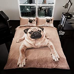 sell-ideas 3D Animal Printed Duvet Set Quilt Cover Pillow Cases- Quality Products (PUG.DOG- Double) by sell-ideas