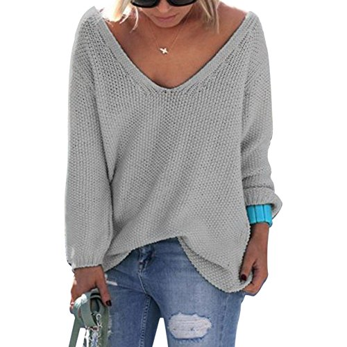 Bonaweite Women Autumn V Neck Knit Pullover Sweater Blouse Long Sleeve Grey XL