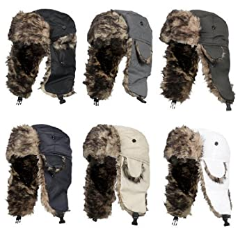 Mens Winter Warm Shower Proof Outdoor Breathable Durable Russian Fake Fur Trapper Ski Hat Beige
