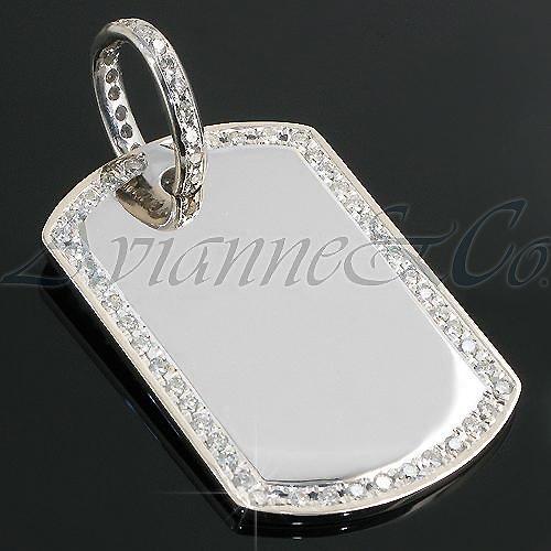 14K White Gold Mens Diamond Dog Tag 2.95 Ctw