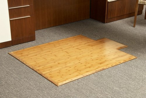 "45"" x 57"" Natural Tri-Fold Bamboo & Hardwood Office Chair Mat"