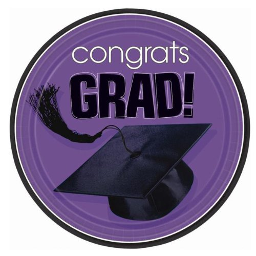 Amscan - Congrats Grad Purple Graduation Dessert Plates