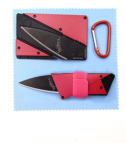 Kitsale Iain Sinclair Cardsharp3 Authentic Credit Card Sized Folding Knife Red Metal Handle With Black Blade +4.5Cm D Links Climbing Outdoor Carabiner+Microfiber Cloth+Ties