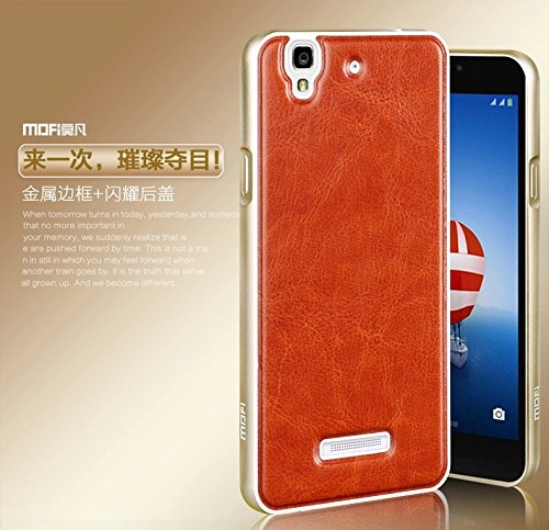 High Quality Luxury Mofi PU Leather Back + Aluminum Metal Frame Bumper Case Cover for Micromax YU Yureka with Front Screen Guard -- Brown Back Golden Frame