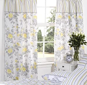 LEMON YELLOW FLORAL STRIPED COTTON FULLY LINED PENCIL PLEAT CURTAINS 66 X 72