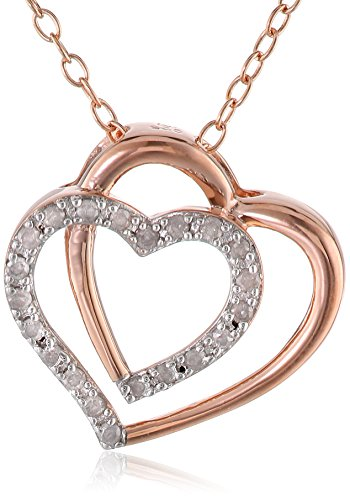 Rose Gold Flashed Silver Diamond Double Heart Pendant Necklace (.1 Cttw, G-H Color, I3 Clarity), 18