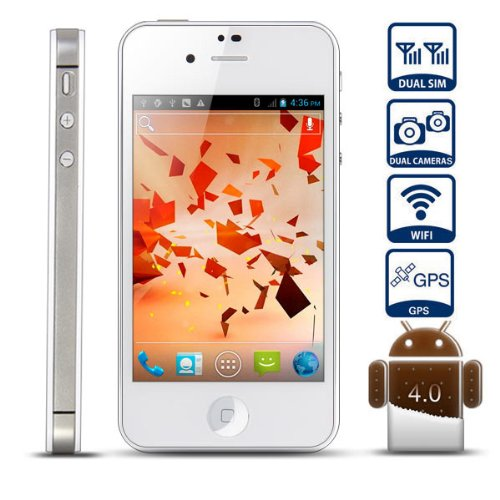 Unlocked Quadband Dual sim with Android 4.0 3G Smart Phone 3.5 Inch Capacitive Touch Screen &#8211; AT&amp;T, T-mobile, H20, Simple mobile and other GSM networks (White)