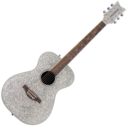 Daisy Rock Pixie Acoustic Guitar, Silver Sparkle