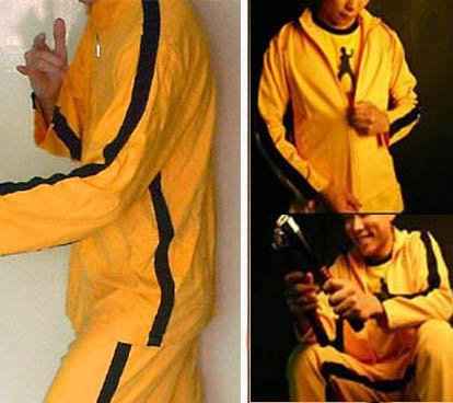 VINTAGE STYLE 2-PIECE BRUCE LEE / KILL BILL YELLOW TRACKSUIT *SMALL*