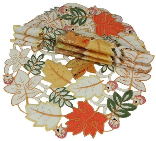 Xia Home Fashions Harvest Splendor Embroidered Cutwork Round Doily, 8-Inch, Set Of 4 front-210904