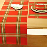 "Lenox Linens Holiday Gatherings Plaid Runner Red 14"" X 70"""