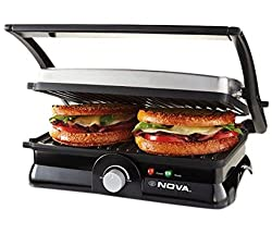Nova NSG/NGS 2451 2000-Watt 3-in-2 Grill Sandwich Maker (Black/Grey)