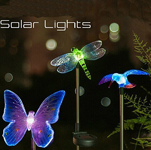 Esky Solar Powered Hummingbird Butterfly Dragonfly Garden Stake Light With Color Changing