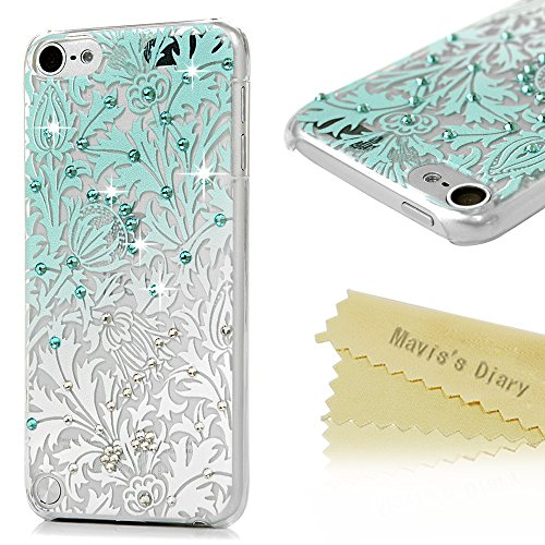 ipod 5 Case,ipod Touch 5th Generation Case - Mavis's Diary 3D Handmade Bling Crystal Shiny Rhinestone Diaonds Special Hollow Floral Gradient Pattern Clear Case Hard PC Cover (Cool Ipod 5th Generation Cases compare prices)