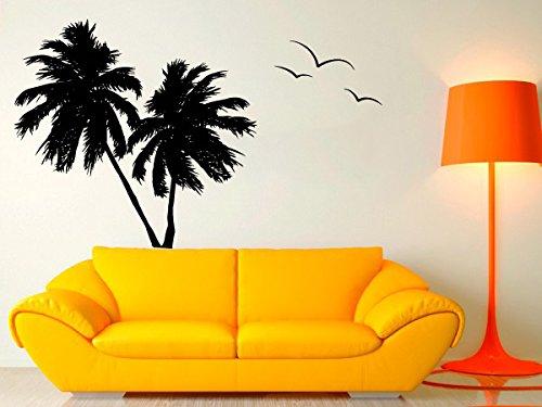 Wall Decal Vinyl Sticker Decals Art Decor Design Couple Palms Birds Branch Beach Tree Hawaii Surf Dorm Bedroom Mural Modern Office (R1033) front-698817