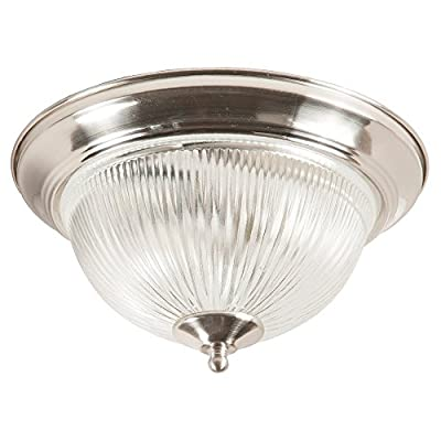Modern IP44 Bathroom Flush Ceiling Light in Satin Silver with Clear Ribbed Glass Shade