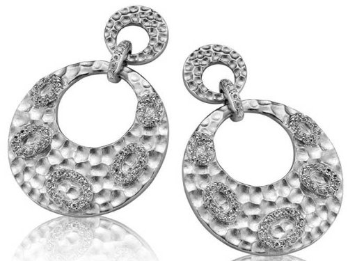 C.Z. Round Hammered Drop Beautifully Rhodium Plated (.925) S/S Earrings (Nice Holiday Gift, Special Black Firday Sale)