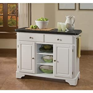 Home Styles Premier Create-a-Cart 45 Inch Black Granite Top Kitchen Cart in White