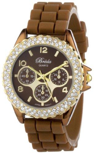 """Breda Women's 2216_goldbrown """"Belle"""" Rhinestone Jelly Sport Watch"""