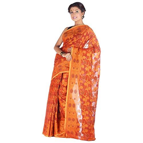 Elife Elife Orange Cotton Silk Saree For Women (Multicolor)