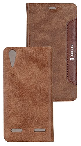 Tarkan Authentic Smart PU Leather Magnetic Flip Case Cover with Convertible Back Stand For Lenovo A6000 / A6000+ Plus - Brown