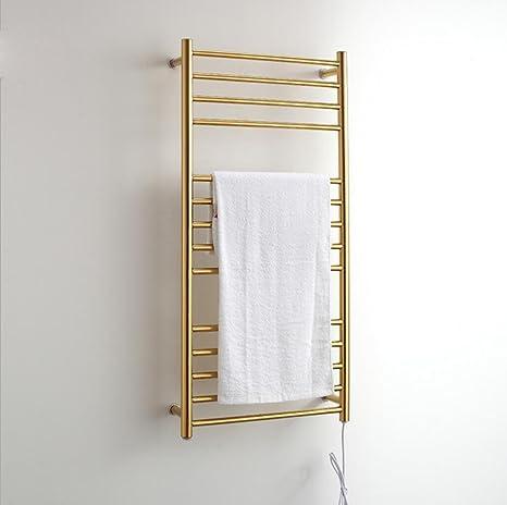 Tondo a parete del tubo montato asciugamano elettrico in acciaio inox scalda / Bagno Radiatore / scaldasalviette 9006 , golden