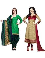 DivyaEmporio Women's Faux Crepe And Cotton Salwar Suit Dress Material Combo Of 2 Suits