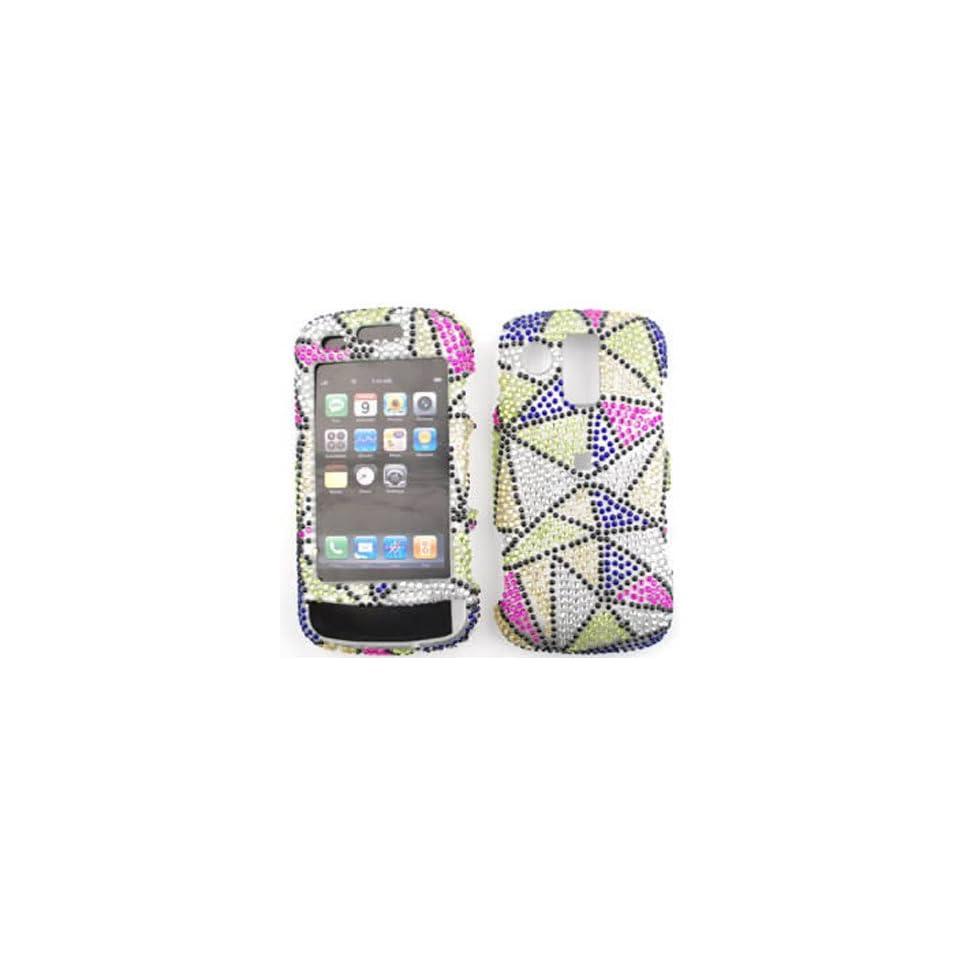 Samsung Rogue u960 Full Diamond Crystal,Blue/Green/Pink/White Triangles Full Rhinestones/Diamond/Bling   Hard Case/Cover/Faceplate/Snap On/Housing