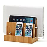 Bamboo Multi Device Charging Station and Cord Organizer for Smartphones, Tablets and Laptops. Universal Compatibility with iPad, iPhone, Samsung, Android and all other devices.