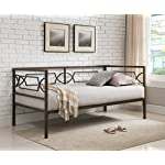 Kings Brand Furniture Brooklyn Twin Size Metal Daybed Frame, Pewter