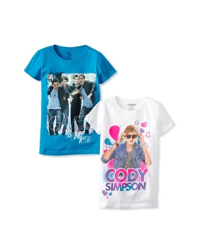 Freeze Girl's Cody Simpson & Big Time Rush 2 Pack Tee Set  [White/Turquoise]