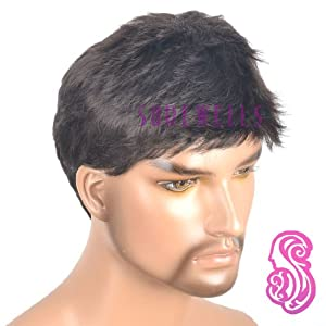 Men's Short Dark brown Wig Mature wig For White Men Lace Front Wigs Short Wigs by Gooaction