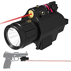 [UPDATED]Feyachi Red Laser + 200 Lumen Flashlight Combo with Compact Rail Mount for Pistol Handgun from Feyachi