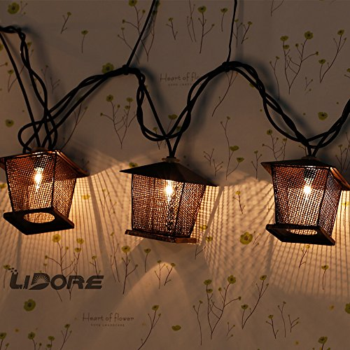 LIDORE 10 Counts Vintage Bronze Iron Nets Lanterns Plug-in String Lights. Great For Indoor/Outdoor Decoration. Best Ambience Decorative Lights. Warm White Glow. 3