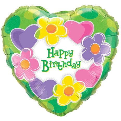 "18"" Birthday Hearts & Flowers Mylar Balloon"