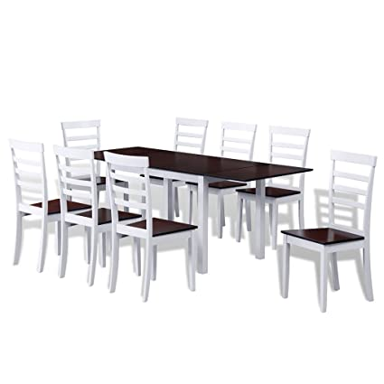 Festnight 9 Teilige Essgruppen Auszugstisch aus Holz mit 8 Stuhlen Braun und Weiß