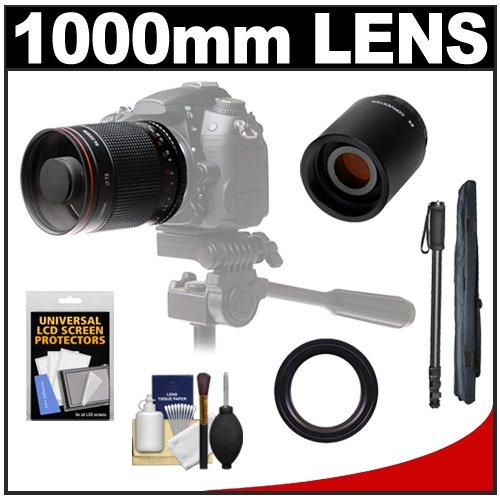 Vivitar 500Mm F/8.0 Mirror Lens With 2X Teleconverter (=1000Mm) + Monopod + Accessory Kit For Nikon D3200, D3300, D5200, D5300, D7000, D7100, D610, D800, D810, D4S Dslr Cameras