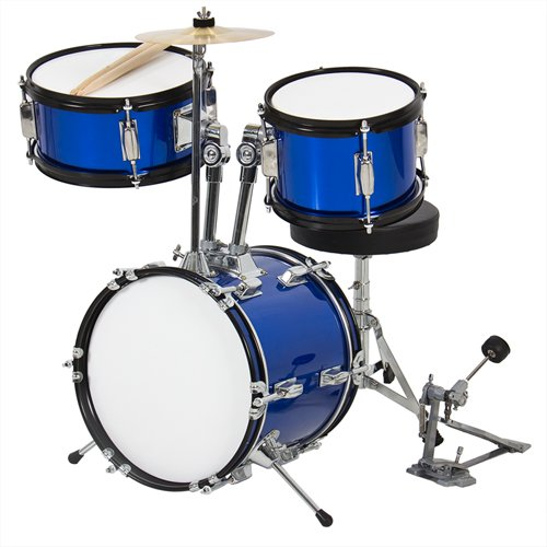 """Drum Set 3 Pc Kids 12"""" Blue Beginners Complete Set With Throne, Cymbal And More"""