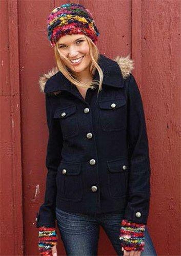 Delia's Women's Zoe Wool Blend Military Coat in Dark Charcoal