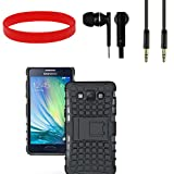 Kick Stand Shock Proof Case For Samsung Galaxy A5 With Headsfree, Aux Cable And Wrist Band