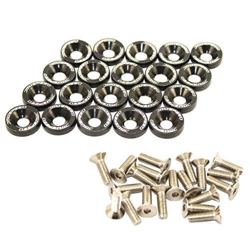 JDMSPEED 20 Pcs Black CNC Billet Aluminum Fender Washer Engine Bay Dress Up Kit (Engine Dress Up Kits compare prices)