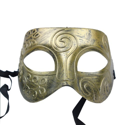 NATI Men's Masquerade Mask Color Antiqued Gold - 1