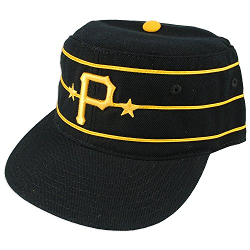Pittsburgh Pirates MLB 1977 Vintage Baker Cooperstown Fitted Cap (Black, 7)