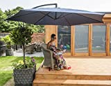 Charles Jacobs 3m Cantilever PARASOL Steel Frame Garden Furniture Foldable Umbrella with Winding Crank & Tilt Function in Blue